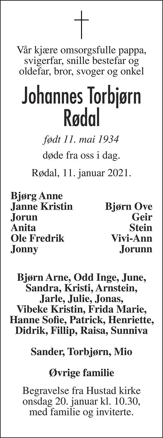 Johannes Torbjørn Rødal Dødsannonse