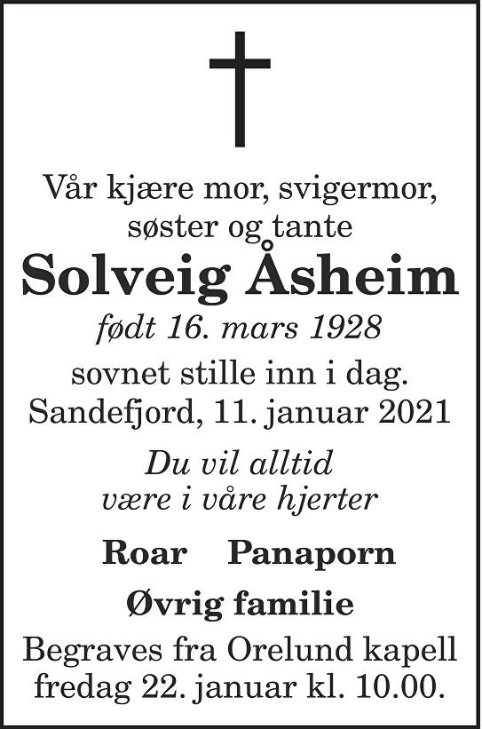 Solveig Åsheim Dødsannonse