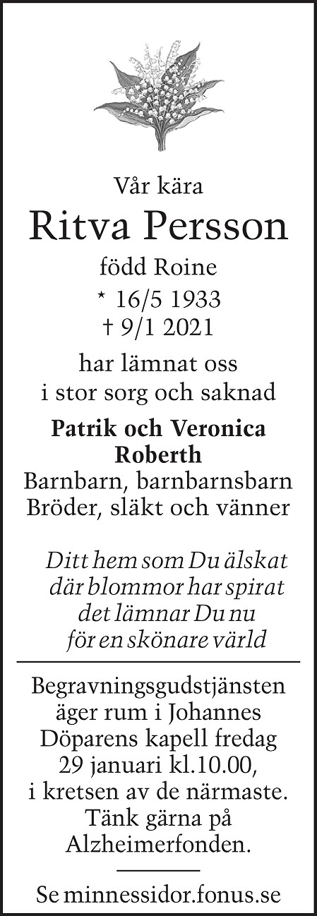 Ritva  Persson Death notice