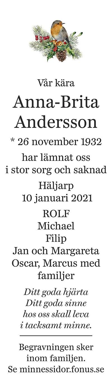 Anna-Brita Andersson Death notice