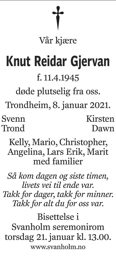 Knut Reidar Gjervan Dødsannonse
