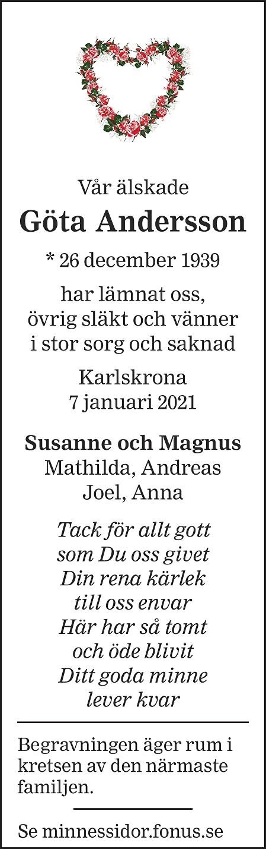 Göta Andersson Death notice