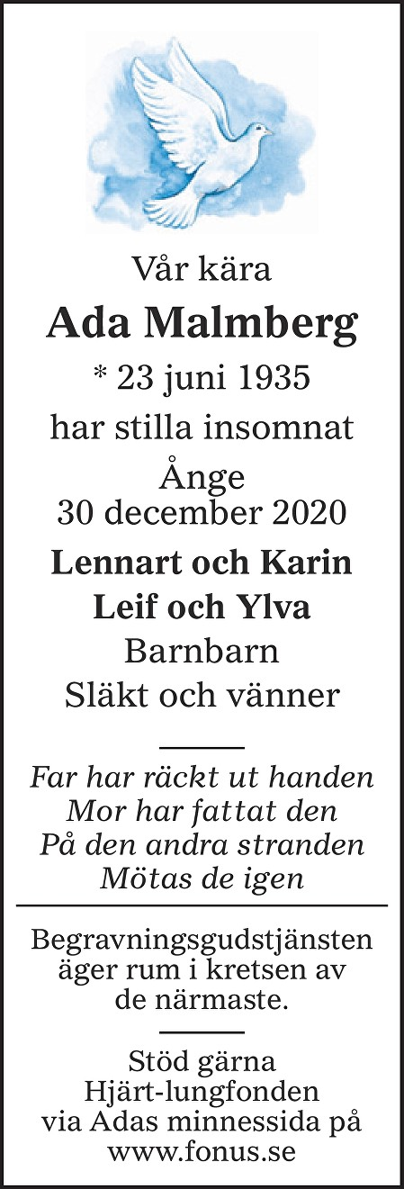 Ada Malmberg Death notice