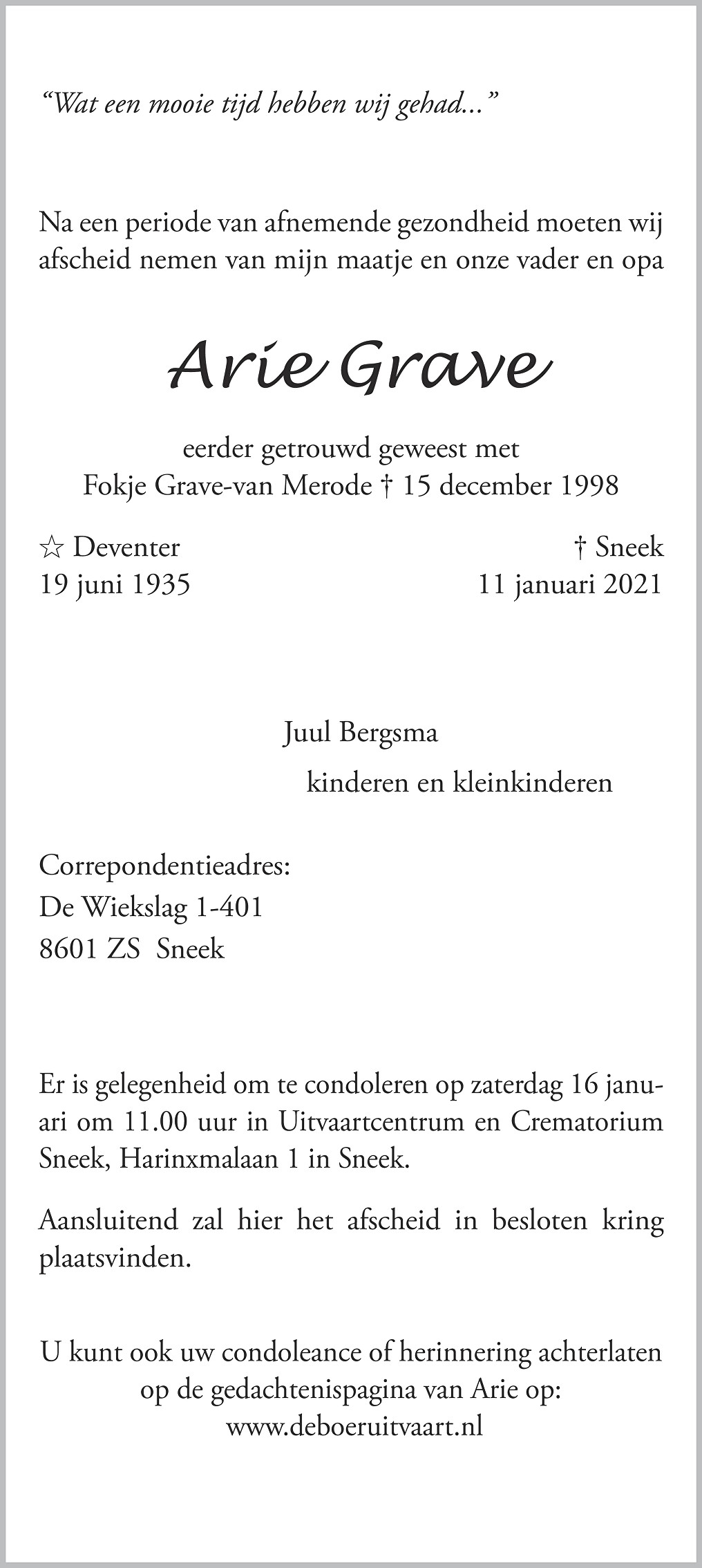 Arie Grave Death notice