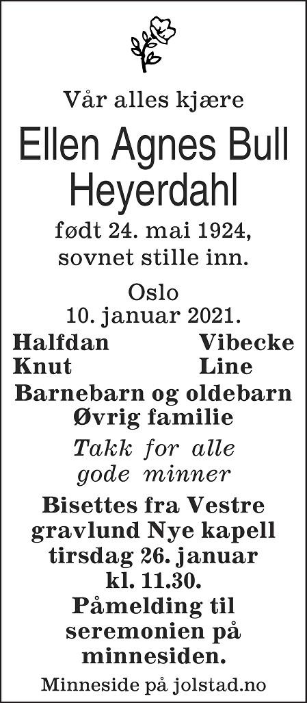 Ellen Agnes Bull Heyerdahl Dødsannonse