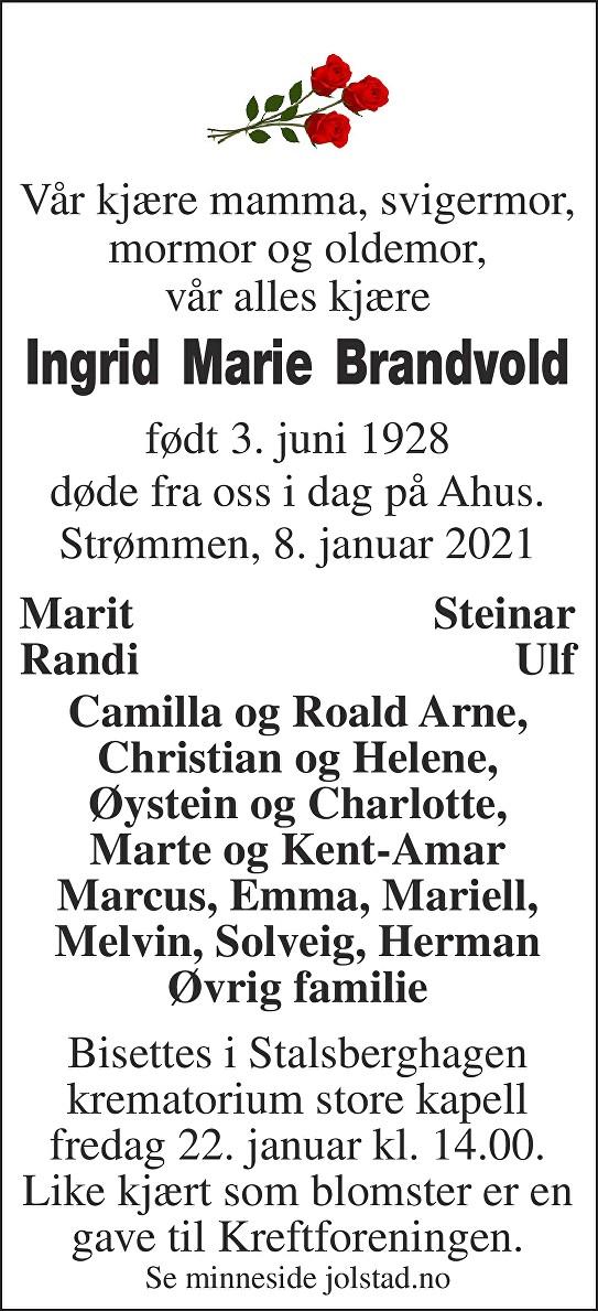 "Ingrid Marie ""Vesla"" Brandvold Dødsannonse"