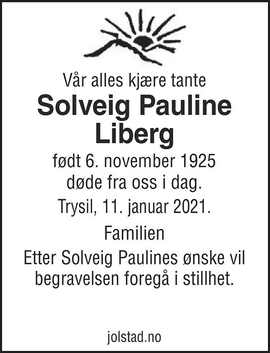 Solveig Pauline Liberg Dødsannonse