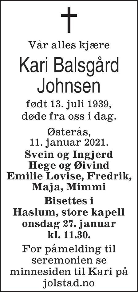 Kari Balsgård Johnsen Dødsannonse