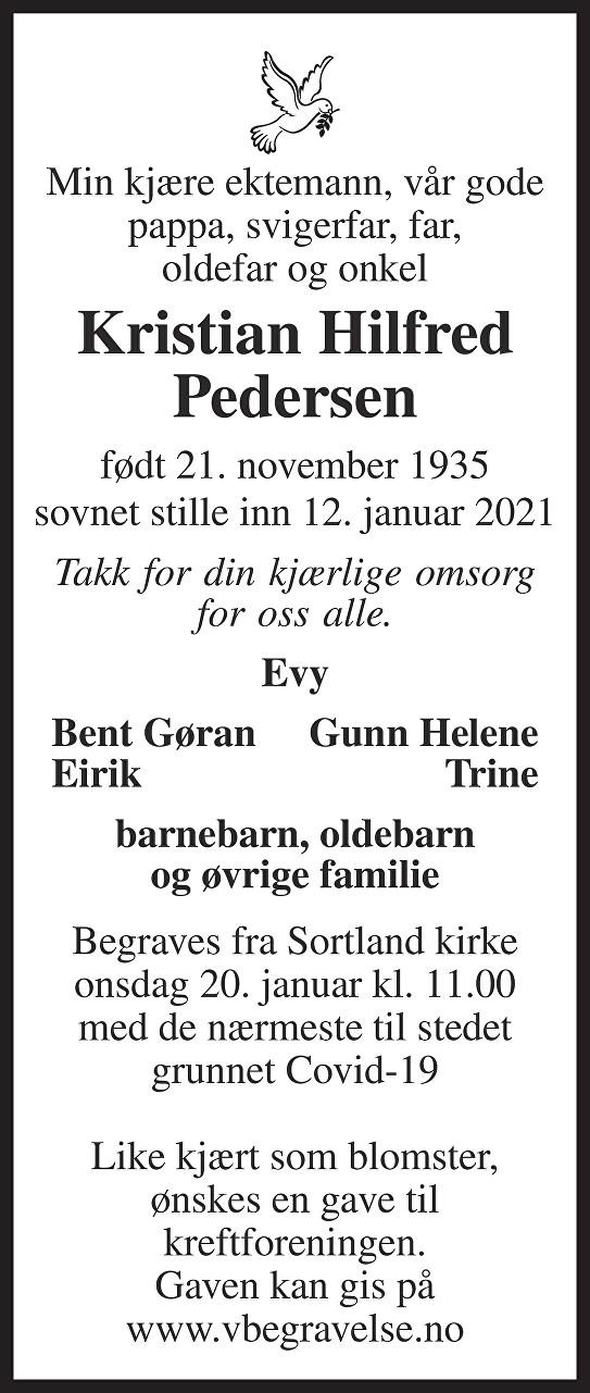 Kristian Hilfred Pedersen Dødsannonse