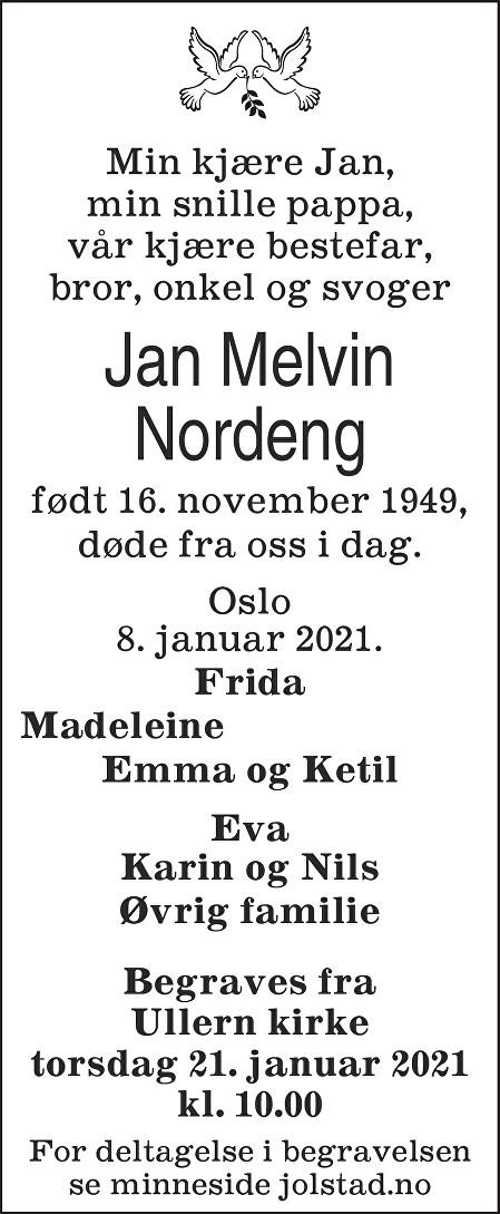 Jan Melvin Nordeng Dødsannonse