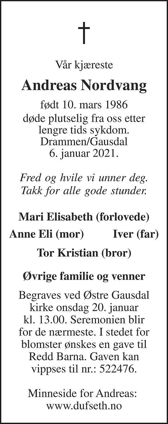 Andreas Nordvang Dødsannonse