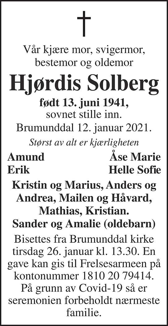 Hjørdis Solberg Dødsannonse