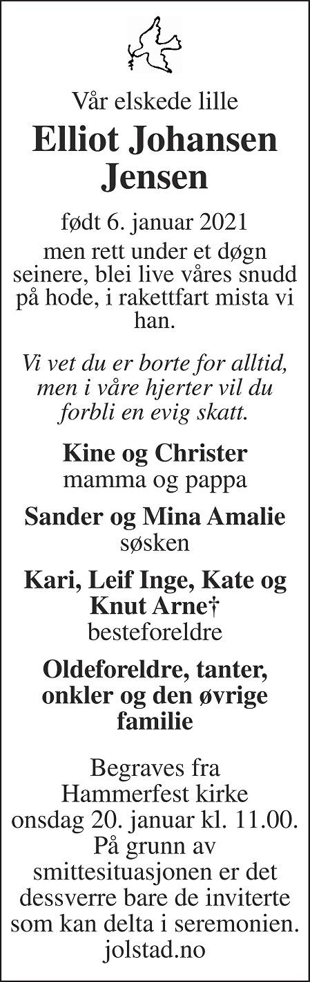 Elliot Johansen Jensen Dødsannonse