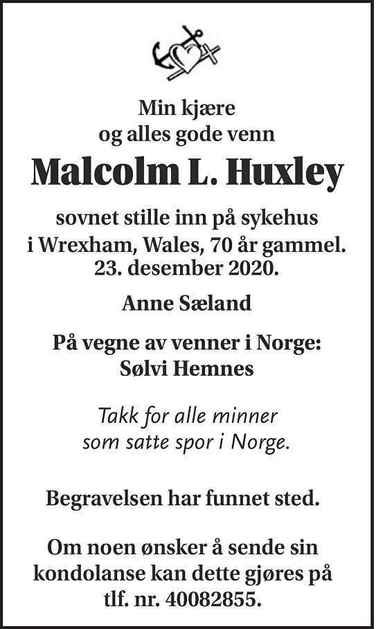 Malcolm L. Huxley Dødsannonse