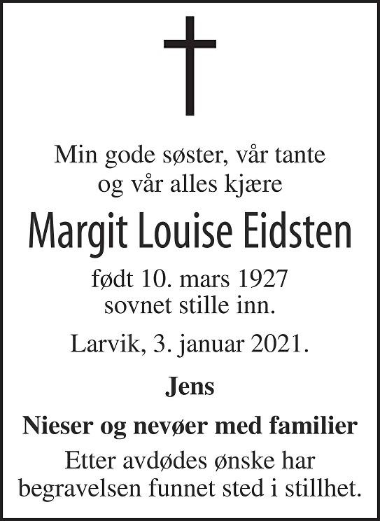 Margit Louise Eidsten Dødsannonse