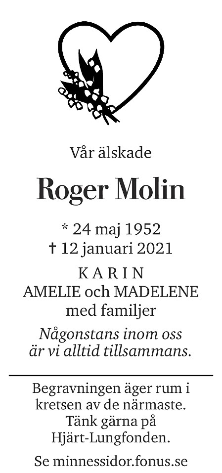 Roger Molin Death notice