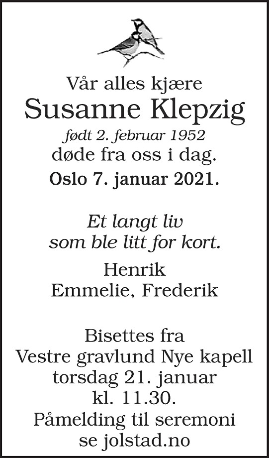 Susanne Klepzig Dødsannonse