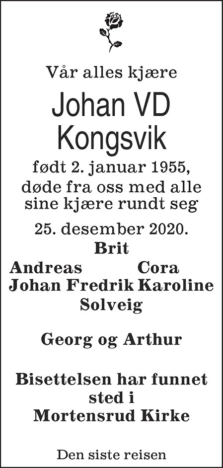 Johan Vauvert Dahl Kongsvik Dødsannonse