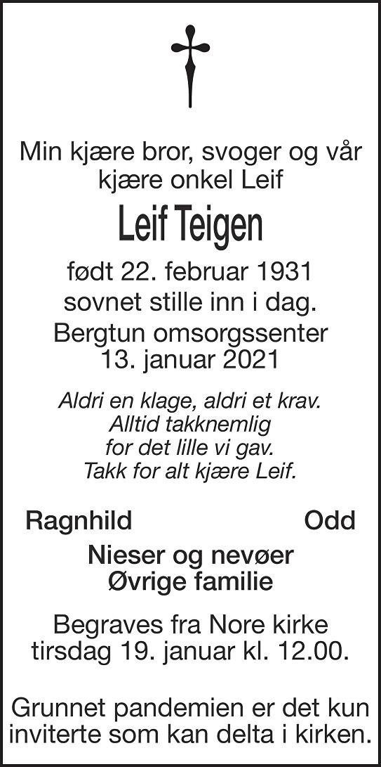 Leif Teigen Dødsannonse