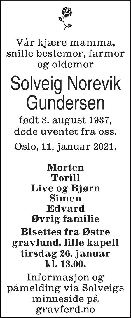 Solveig Norevik Gundersen Dødsannonse