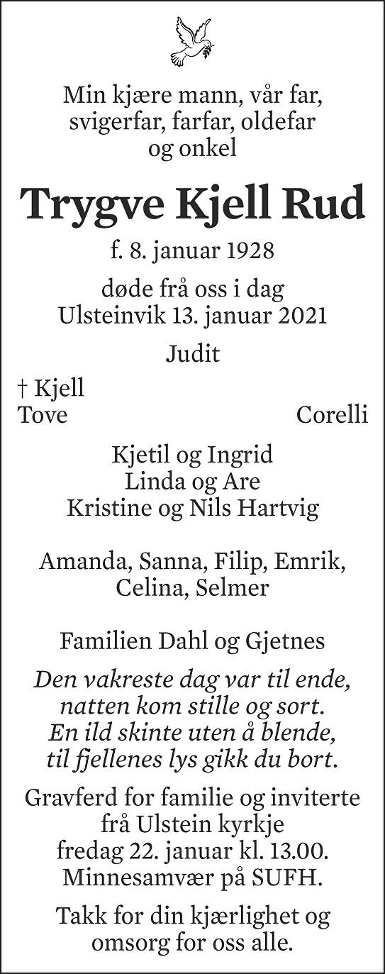 Trygve Kjell Rud Dødsannonse