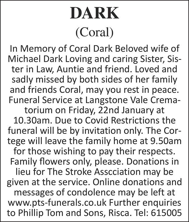 Coral Dark Death notice