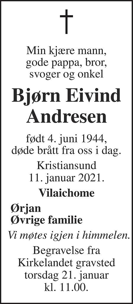 Bjørn Eivind Andresen Dødsannonse