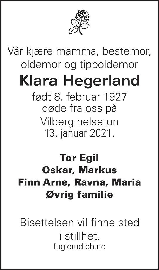Klara Ingeborg Skår Hegerland Dødsannonse