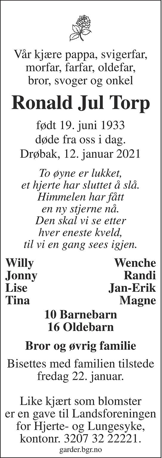 Ronald Jul Torp Dødsannonse