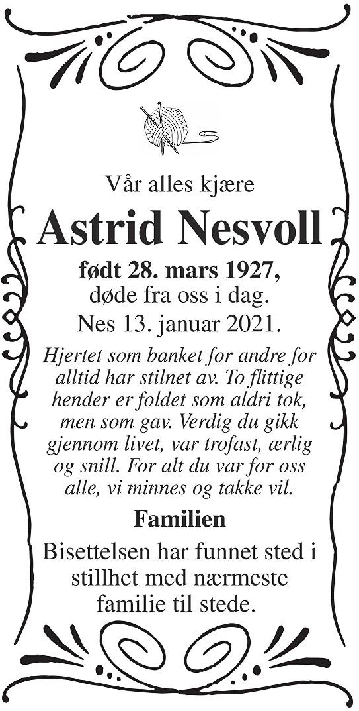 Astrid Nesvoll Dødsannonse