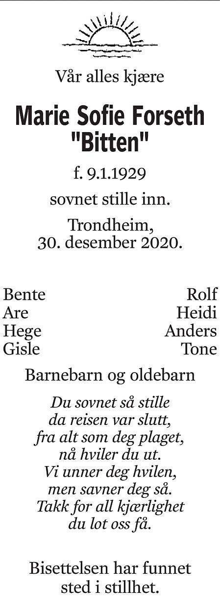Marie Sofie Forseth Dødsannonse