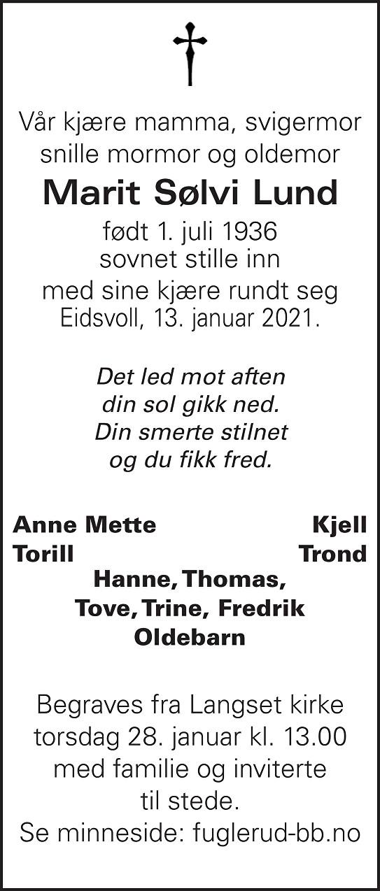 Marit Sølvi Lund Dødsannonse