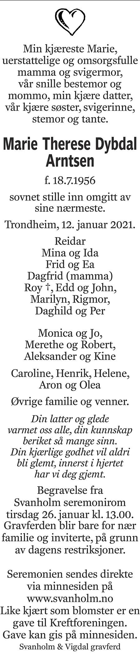 Marie Therese Dybdal Arntsen Dødsannonse