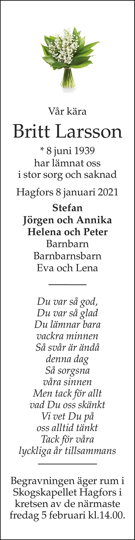 Britt Gerd Larsson Death notice
