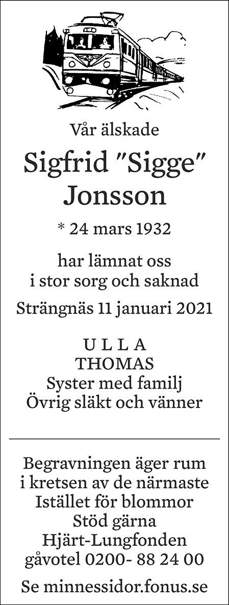 Sigfrid Jonsson Death notice
