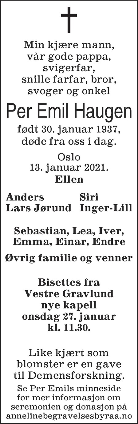 Per Emil Haugen Dødsannonse
