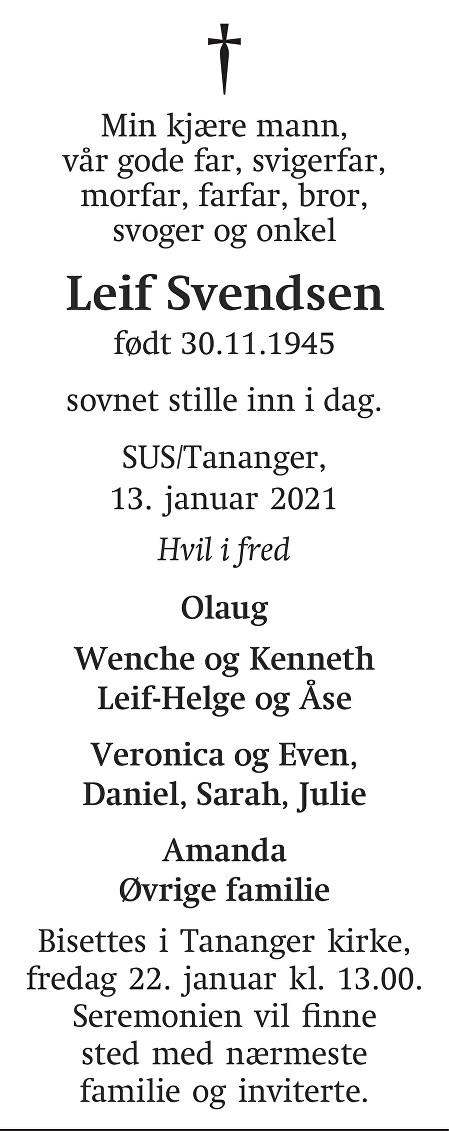 Leif Svendsen Dødsannonse