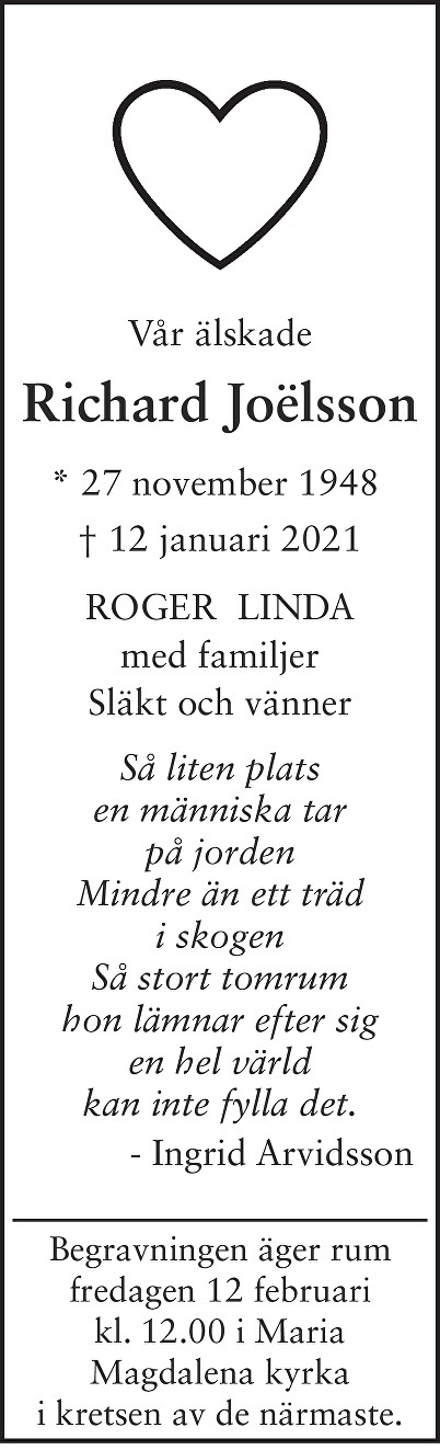 Richard Joëlsson Death notice