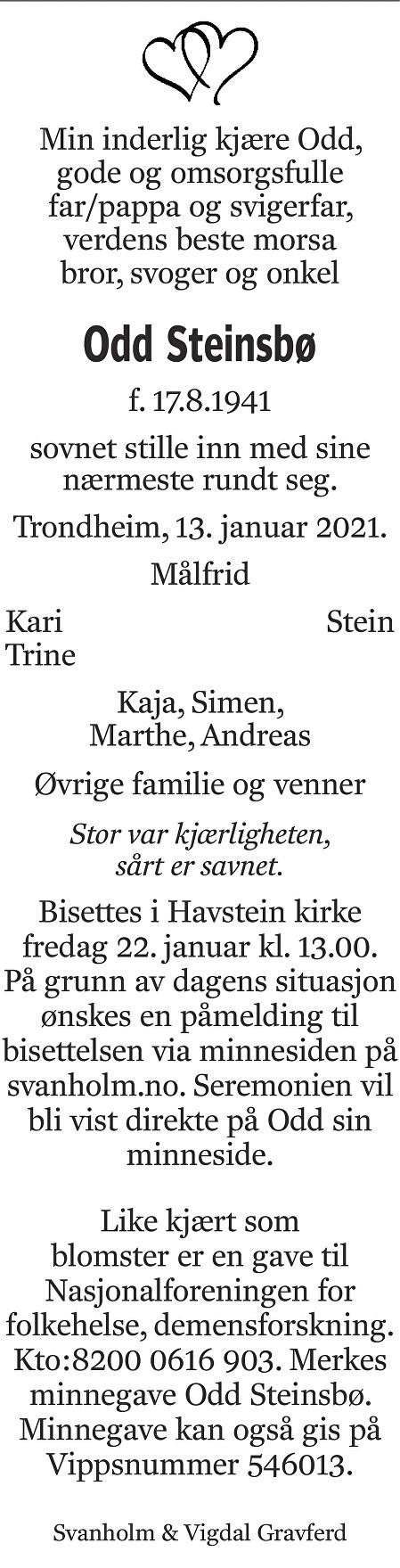Odd Kåre Steinsbø Dødsannonse