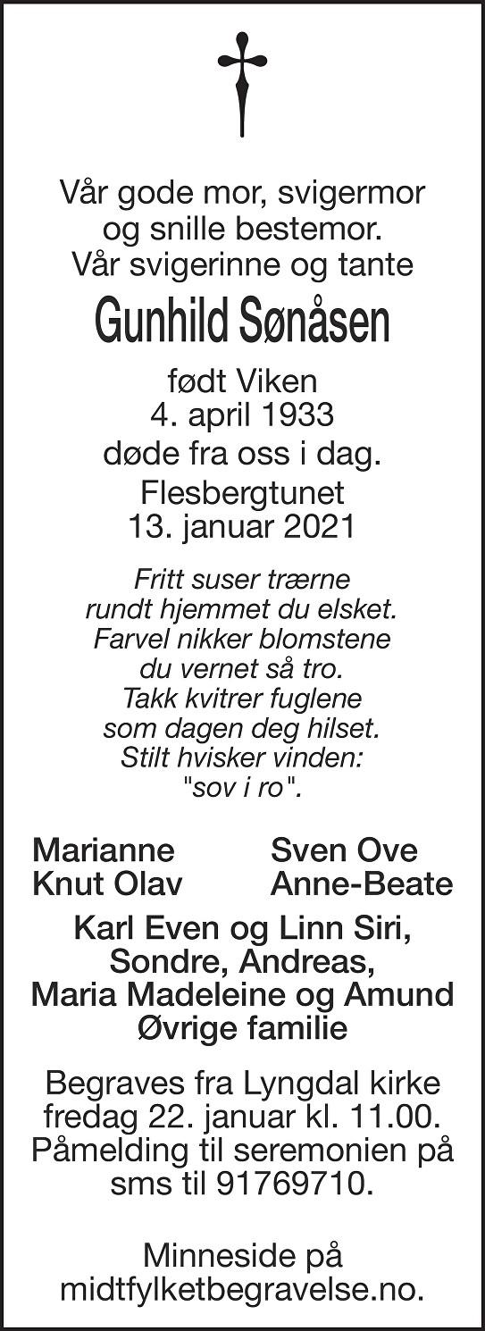 Gunhild Sønåsen Dødsannonse