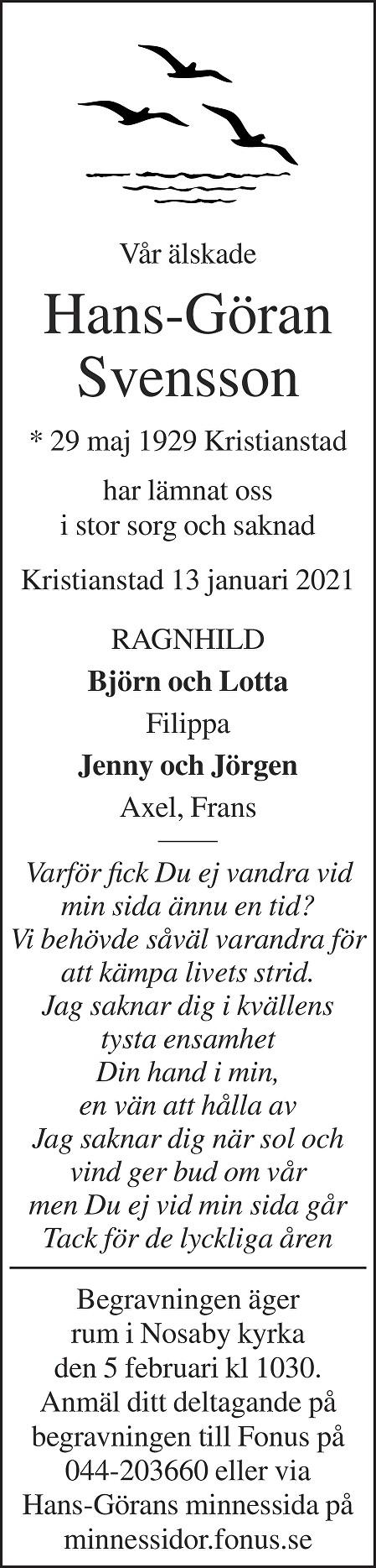 Hans-Göran Svensson Death notice