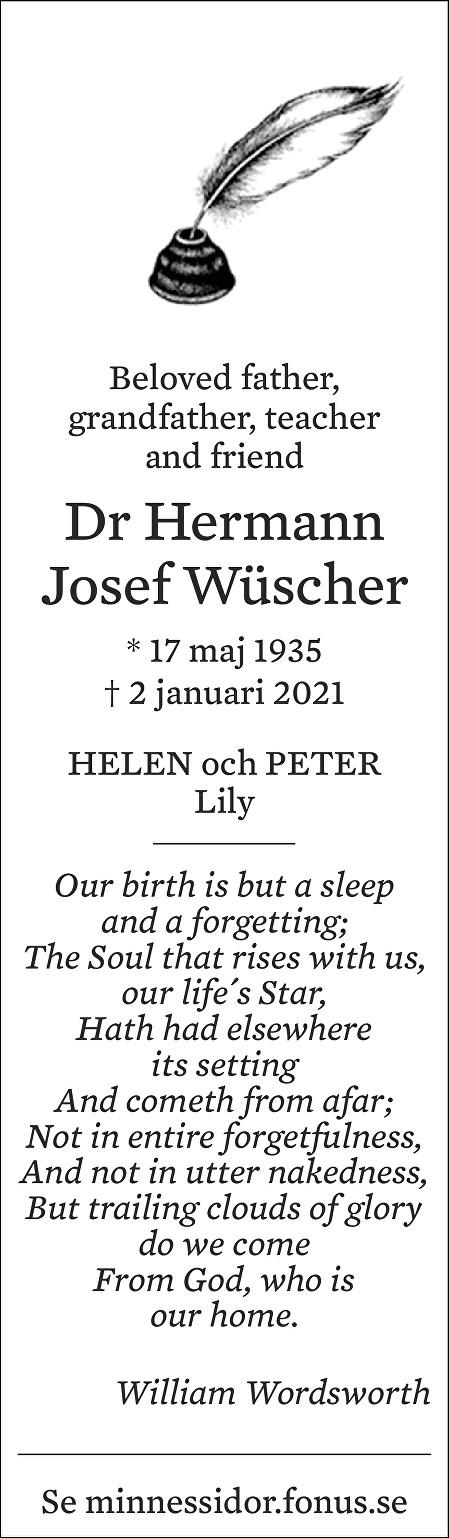 Hermann Wüscher Death notice