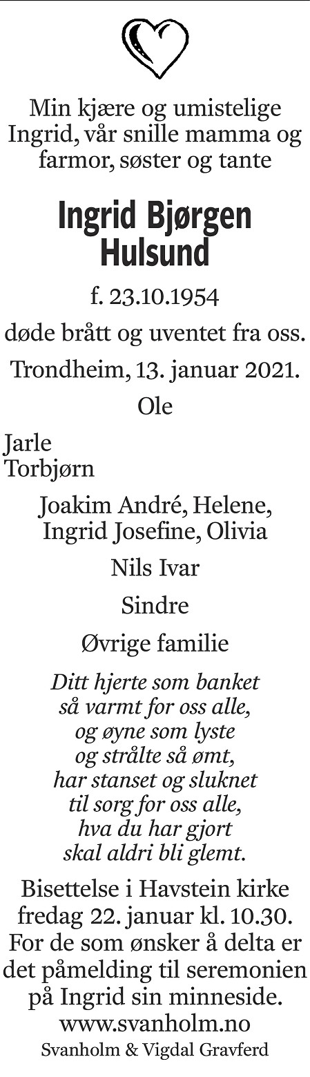 Ingrid Bjørgen Hulsund Dødsannonse