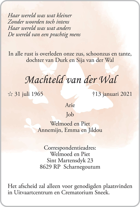 Machteld Catherine van der Wal Death notice