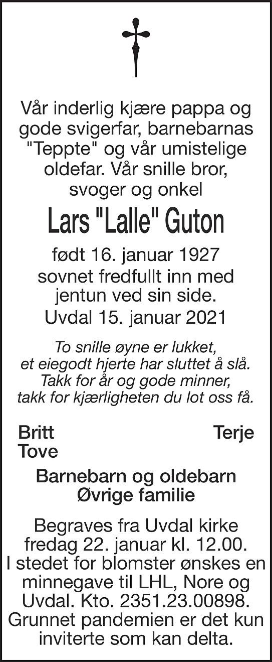 "Lars ""Lalle"" Guton Dødsannonse"