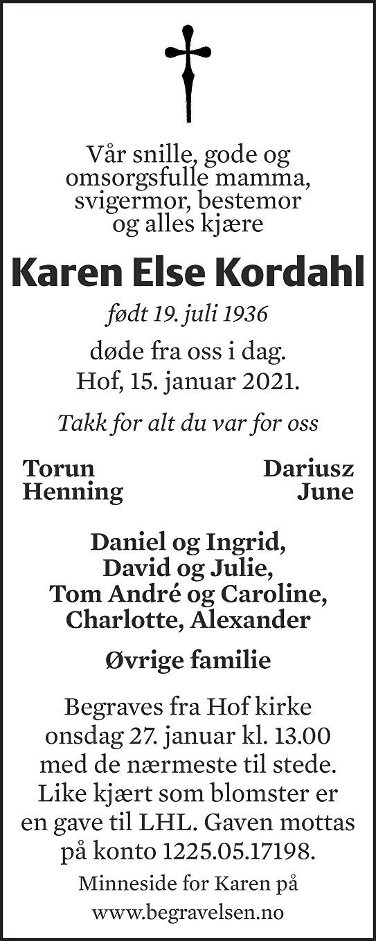 Karen Else Kordahl Dødsannonse