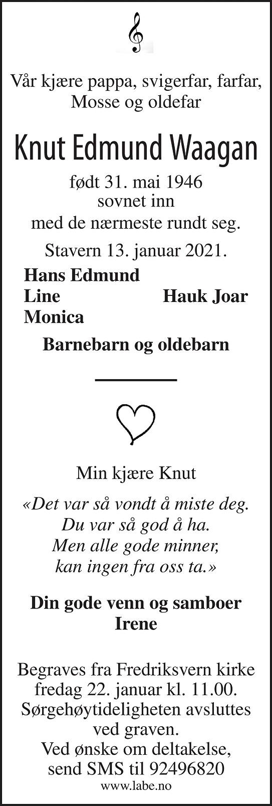 Knut Edmund Waagan Dødsannonse