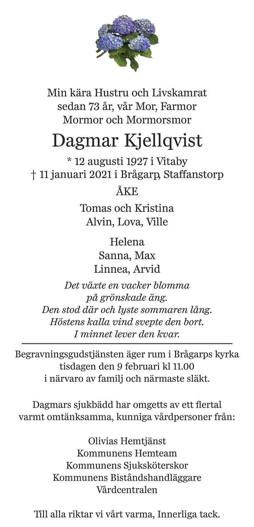 Dagmar Kjellqvist Death notice