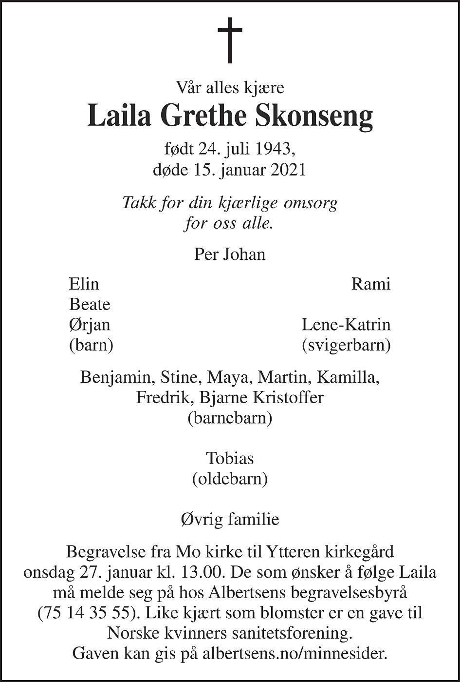 Laila Grethe Skonseng Dødsannonse