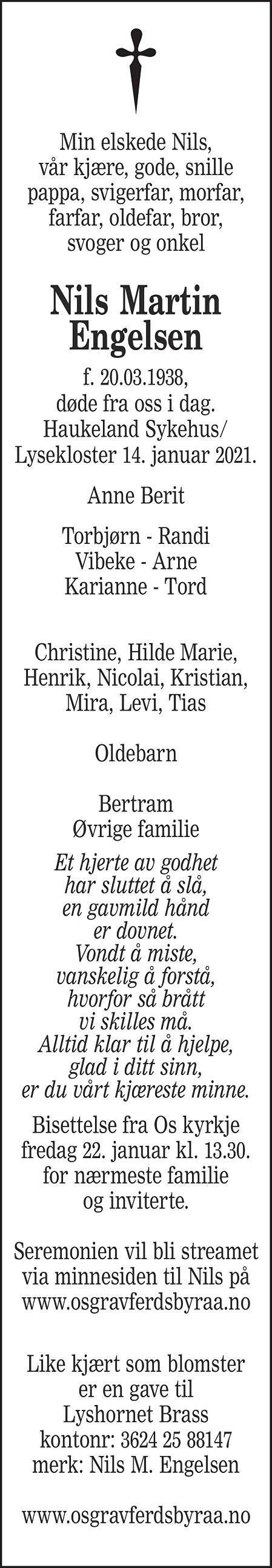 Nils Martin Engelsen Dødsannonse